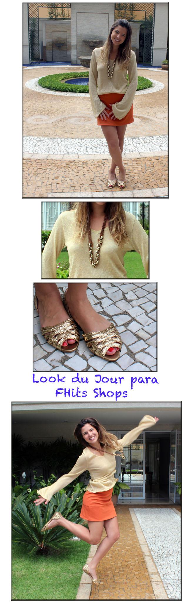 fhits shops, fhits, look pati mattos, foto salto, look do dia, look gold, luiza barcelos, rasteirinha, sandália dourada, sandalias luiza barcelos