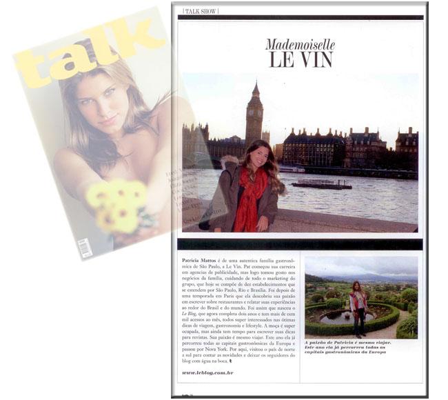 Paty Mattos, revista talk, leblog, fabio cury, talk, matéria leblog, viagens, gastronomia, dicas de viagens